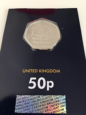 2020 Uk Brexit 50P Fifty Pence Coin Bu On Change Checker Card