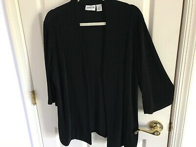 Woman's Chico's travelers size 3 black open front acetate bell sleeve top