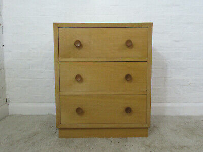 Vintage 1950s Mid 20th Century Style Meredew Oak Veneered Chest of Three Drawers