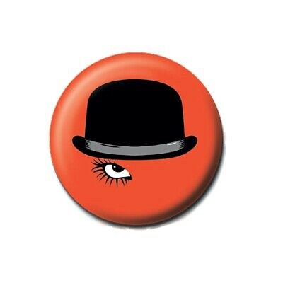 """Bowler Hat Moustache 25mm 1/"""" Pin Badge Button Vintage Indie Geek Pipe"""