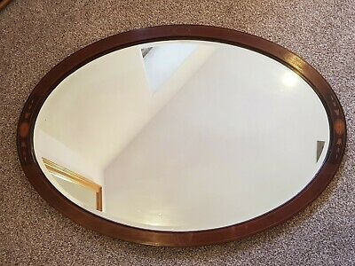 Edwardian Mahogany Oval Inlaid Mirror c.1905 Nice Condition