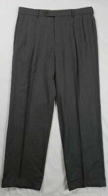 Brooks Brothers Madison Mens Gray Wool Twill Pleated Dress Pants Sz 33 X 29 D9