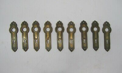 Lot 8 +1 Antique Stamped Brass Metal Door Knob Escutcheon Key Hole Plate Covers