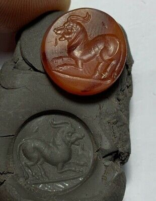 RARE ANCIENT GREEK CIRCA 300-100 BC INTAGLIO CARNELIAN STONE SEAL 4.6gr 19.0mm