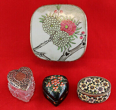 VINTAGE TRINKET BOX LOT 4 Chinese Porcelain Silver Lacquer Crystal Heart Enamel