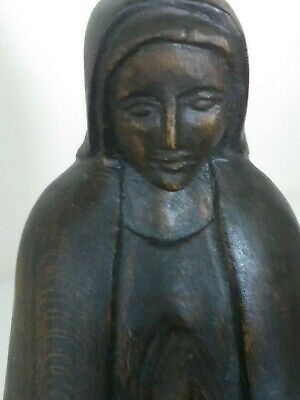 VTG. Hand Carved MARY MADONNA PRAYING WOOD STATUE/SCULPTURE signed 10.5""