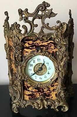 Antique Ansonia Faux Tortoise Shell Gilt Mantle  Clock Works