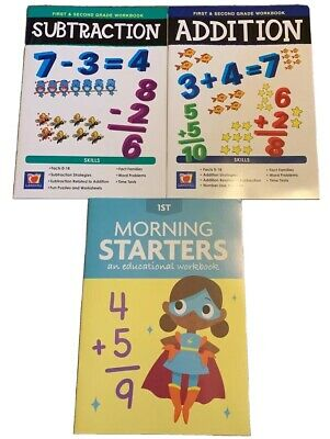 Educational Workbooks 1st Grade Math Addition Subtract Reading Lot 3 Homeschool