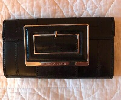 KAREN MILLEN Large Black Leather Large Buckle Detail Bifold Purse Wallet
