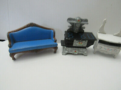 Vintage Antique Style Doll House Miniature Furniture Lot  3 stove dresser couch