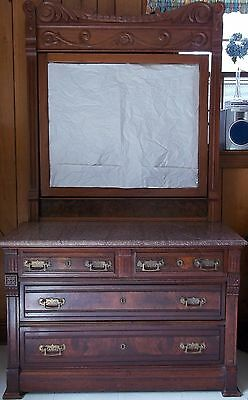 Vintage Antique Victorian Walnut Chest of Drawers with Beveled Mirror