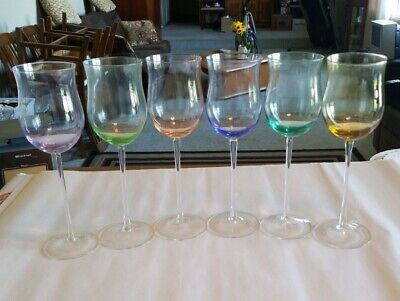 6 Spectrum Hand Blown Crystal Multi Color Stemmed Wine Cordial Glasses Bulgaria