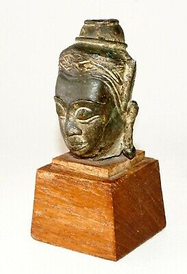 Antique S.E. Asian Mounted Bronze Buddha Head Fragment on Wooden Base (TaE)