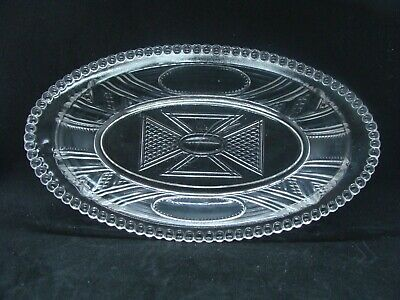 EAPG  Bryce Brothers Glass Co's Clear Oval Medallion Relish