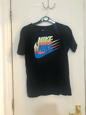 Authentic NIKE TEE T-SHIRT Black WITH Neon  NIKE AIR LOGO Age 8 9 10 Boys Girls