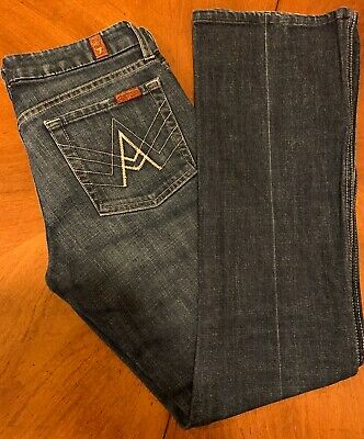 7 For All Mankind A Pocket Womens Jeans Size 28 Blue Solid Bootcut Slacks