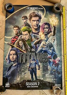 TEEN TITANS 2019 SDCC DC UNIVERSE EXCLUSIVE Cast Signed comic con Poster season2
