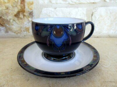Denby-Langley Baroque Footed Coffee Cup/Saucer Cobalt Blue Floral