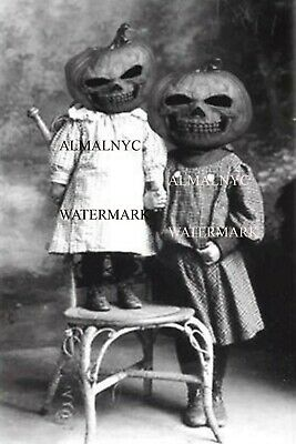 Halloween, two children in creepy headgear   (4 x 6 photo reprint)