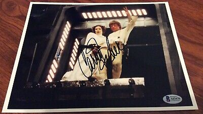 Carrie Fisher Star Wars Princess Leia Signed 8X10 Lobby Card B Beckett Bas Photo