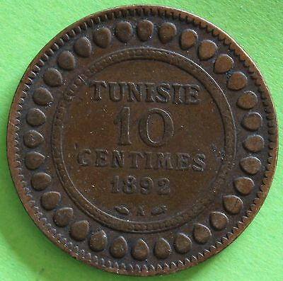 Tunisia 10 Cents 1892 A