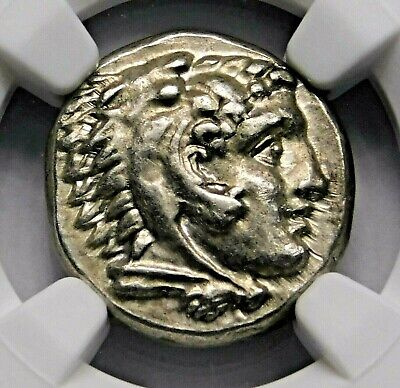 NGC Ch AU 5/5-5/5 Alexander the Great Stunning Lifetime Drachm Greek Silver Coin