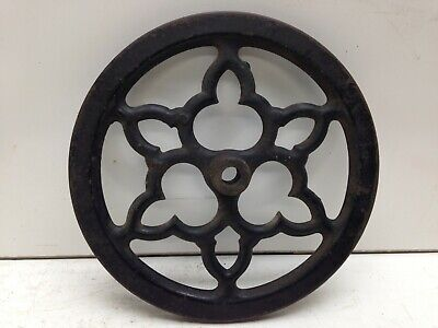 Antique Cast Iron Wheel Metal Ornate Industrial Steampunk Decor Factory Cart Old