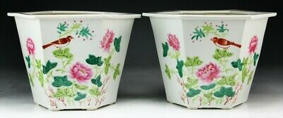 Pair Chinese Famille Rose Hexagonal Porcelain Planters