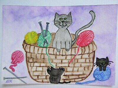 ACEO Original Watercolor Cat Mama Kitty Wool Basket Knit One Purl Two No 84 KEK