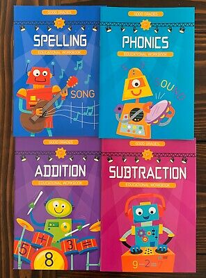 Lot of 4 Workbooks 1st Grade Math Reading Phonics Home School Educational