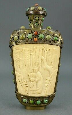 Fine Antique Chinese Turquoise & Coral Jeweled Willow Tree Carved Snuff Bottle