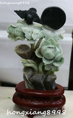 "12"" Collect China Natural Dushan Jade Lotus Lotuses Flower Leaf Bird Moon Statue"