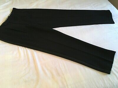 VINTAGE 50s BLACK BRAID LEG MENS DINNER DRESS PANTS TROUSERS waist 36 / 90