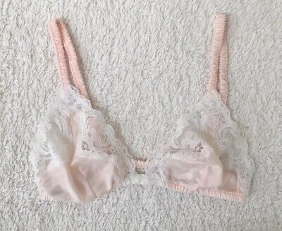Vintage Christian Dior Intimates Pink Lace Bralette 34B 80s Lingerie Soft Fabric