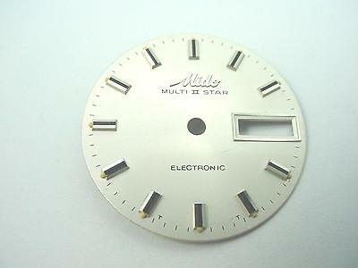 Watch Dial Vintage Pearl 29.03mm Mido Multi 2 Star Electronic Stick Markers NOS