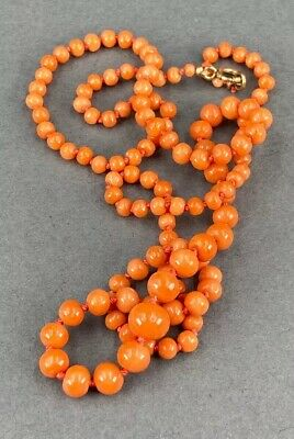 Fine Antique Chinese Carved Natural Coral Graduated Bead Necklace