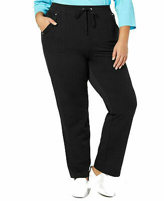 New Karen Scott Sport Womens Black French Terry Pants Athletic Plus 2X