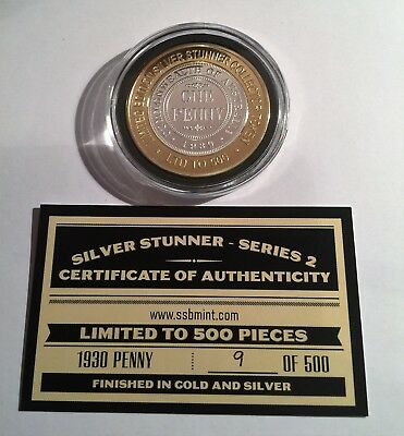 1930 Penny Silver Stunner Coin/token with C.O.A. LTD 500 (Series 2)