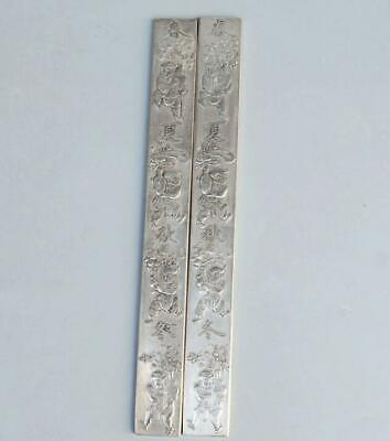 Old Miao Silver Carve Chinese Characters & Fairchild Paperweight Statue /Ta02A