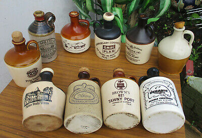10 X Old Vintage, Ceramic Whisley/Liqueur Jugs.  Very Clean.  Collectible