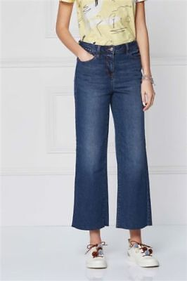 Bnwt Next Sz 16 Long Crop Ankle Wide Leg Mid Rise Blue Jeans Stretch Cropped