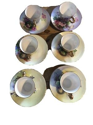 Set Of Six Vintage Nathco Hand Painted Cups And Saucers