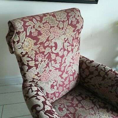 19th Century Antique Armchair wingback Original Upholstery square castors
