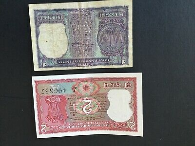 Government Of India Paper Banknote 1 Rupee Plu 2 Rupee