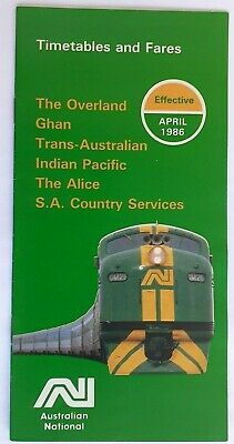 Australian National Timetables & Fares Effective April 1986 for The Overland