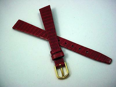 Red 12mm Watch Band Vintage Gilden Ladies Gold Tone Buckle Genuine Lizard NOS