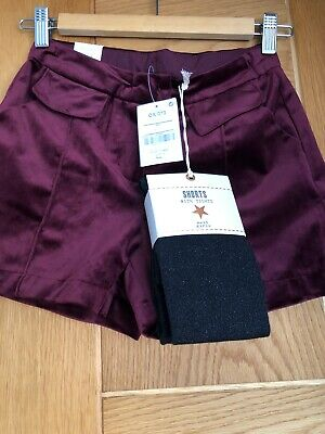 Girls NEXT VELVET SHORTS DEEP RED Age 9 With Sparkly Darkgrey/ Black Tights BNWT