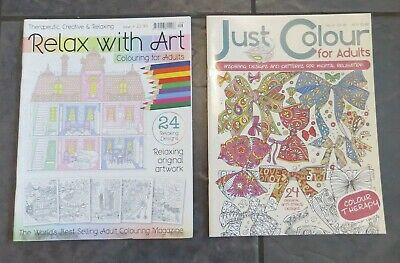 2 X ADULTS MIND RELAXING COLOURING BOOK Stress Relief Colour Therapy BRAND NEW