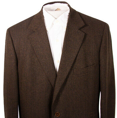 Brooks Brothers Mens 43R Brown Herringbone Lambswool Sports Coat Italy