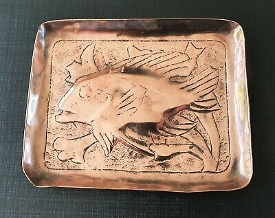 Antique Arts & Crafts Repousse Fish Copper Dish  Signed??   Free Uk Postage